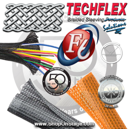 Techflex Flexo F6 (F6N) Flexible, Semi-Rigid, Wrappable, Split Braided Tube